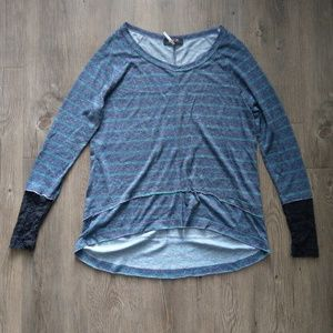 lace and stripe long sleeve NWOT S/M